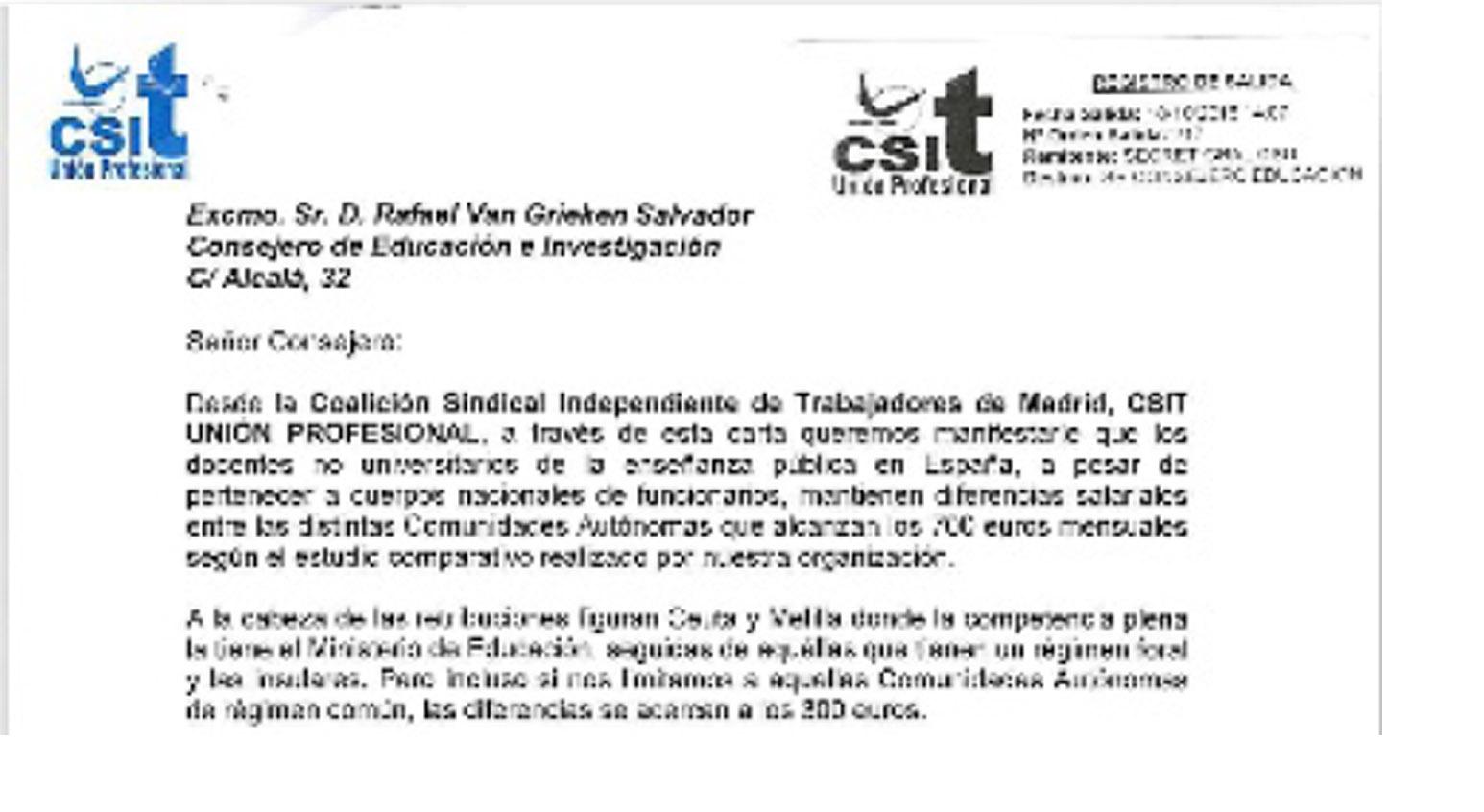 El Secretario de CSIT UNIÓN PROFESIONAL exige la equiparación salarial para los docentes no universitarios