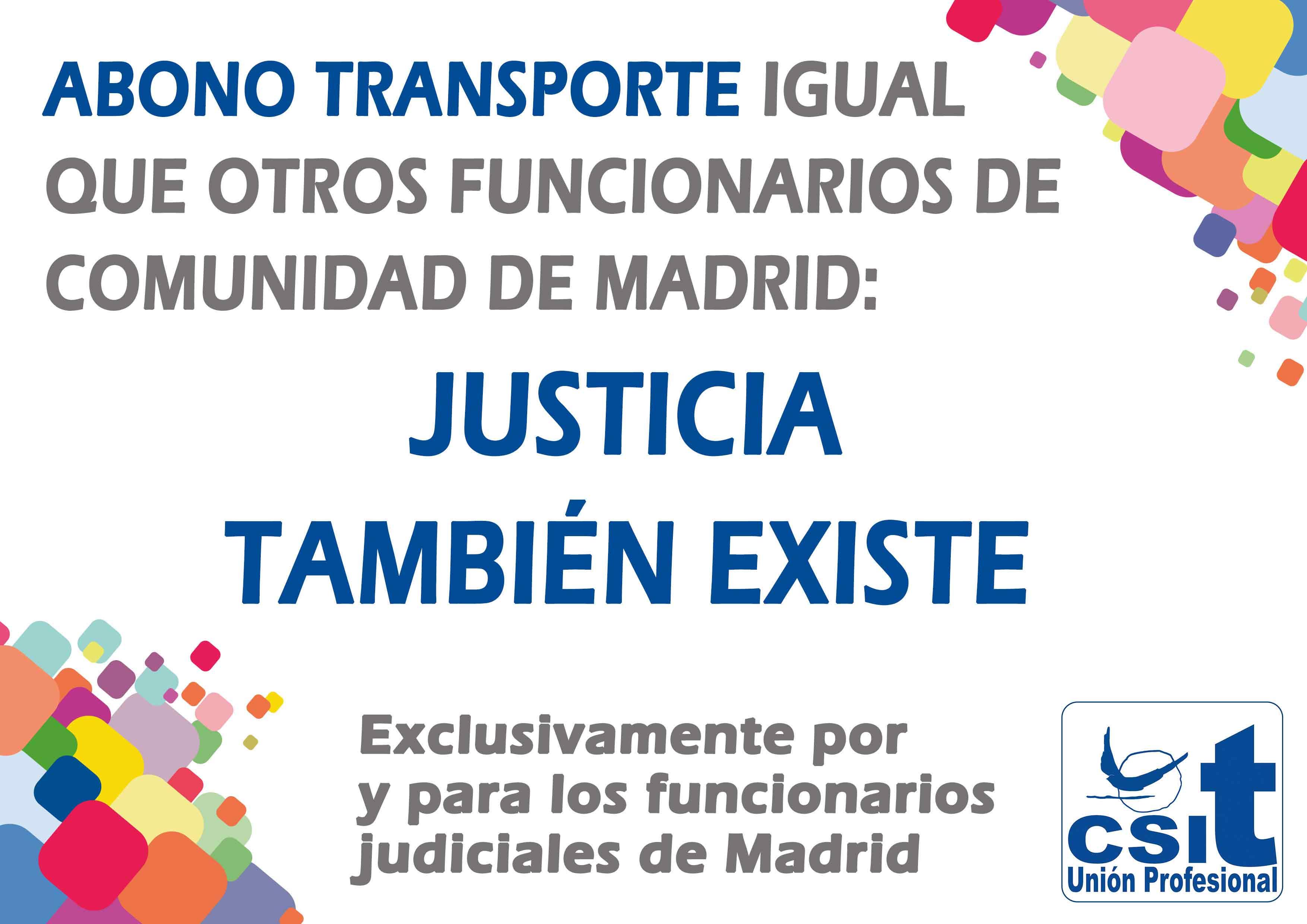 Abono Transporte para los funcionarios de justicia de Comunidad de Madrid