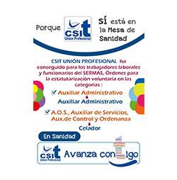 CSIT UNIÓN PROFESIONAL consigue la estatutarización voluntaria para diferentes categorías del SERMAS
