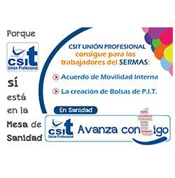 CSIT UNIÓN PROFESIONAL logra Movilidad Interna y Bolsas de PIT para trabajadores del SERMAS