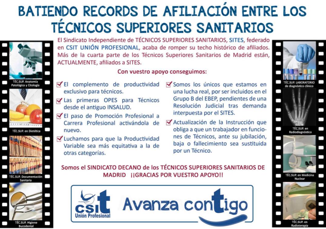 CSIT UNIÓN PROFESIONAL bate records de afiliación entre los Técnicos Superiores Sanitarios