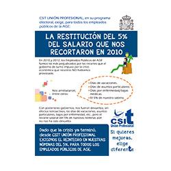 CSIT UNIÓN PROFESIONAL exige la restitución del 5% del salario que nos recortaron en 2010