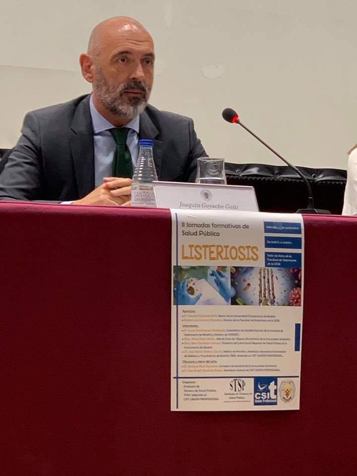 El Rector de la UCM, Joaquín Goyache, durante la apertura de la II Jornada de Salud Pública, Listeriosis, organizada por el Sindicato de Técnicos de Salud Pública-CSIT UNIÓN PROFESIONAL