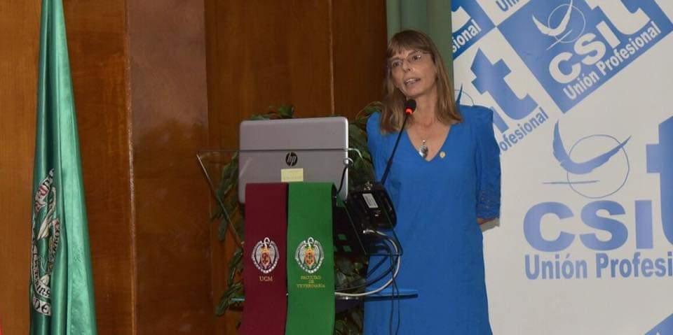 Silvia Íñigo Núñez, Jefa de Área de Higiene alimentaria de la CM, durante su ponencia en la II Jornada de Salud Pública: Listeriosis, organizada por el STSP, federado en CSIT UNIÓN PROFESIONAL
