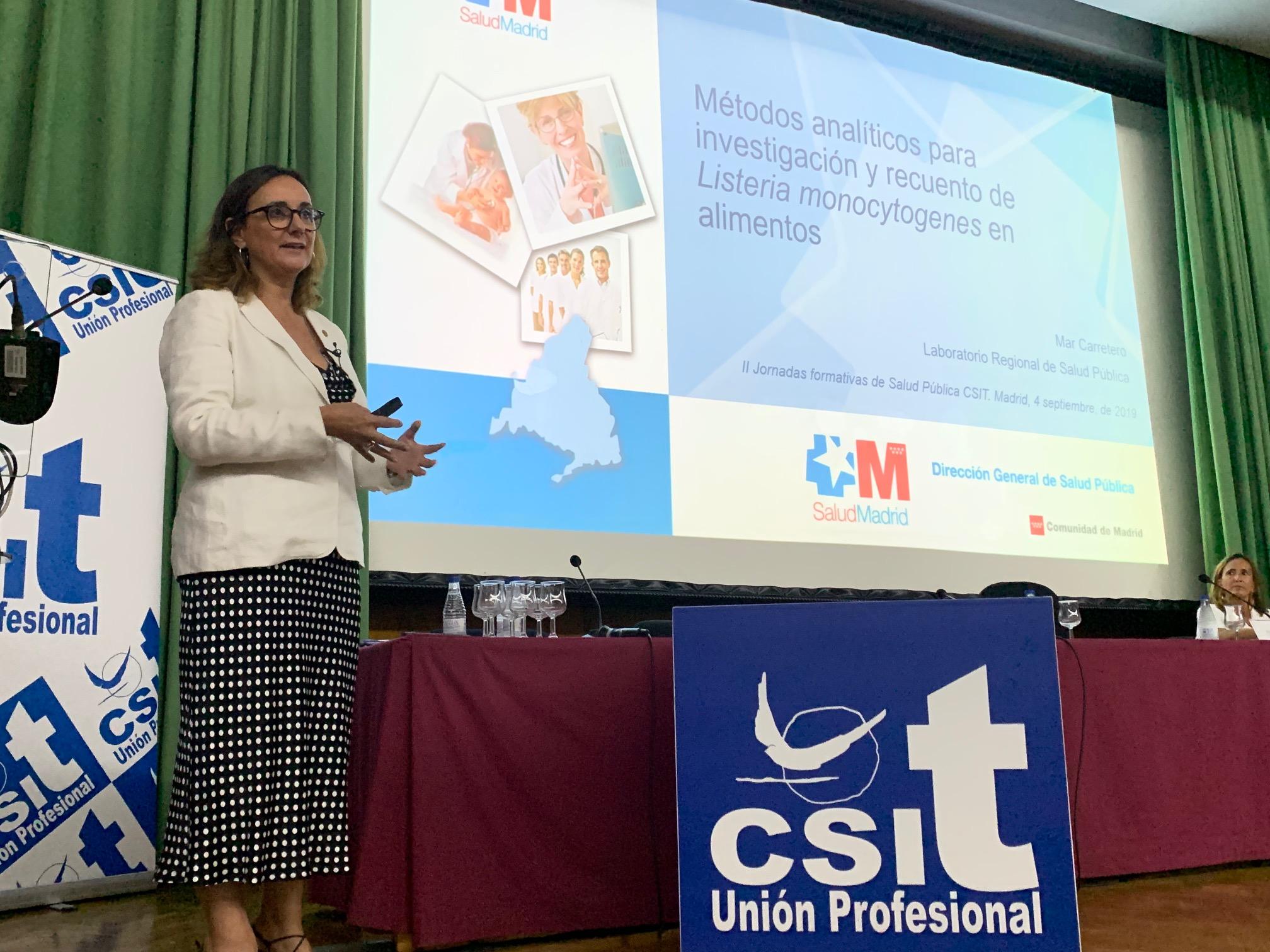 Mar Carretero, Directora del Laboratorio Regional de Salud Pública de la CM, durante su ponencia en la Jornada de Salud Pública: Listeriosis, organizada por el STSP CSIT UNIÓN PROFESIONAL