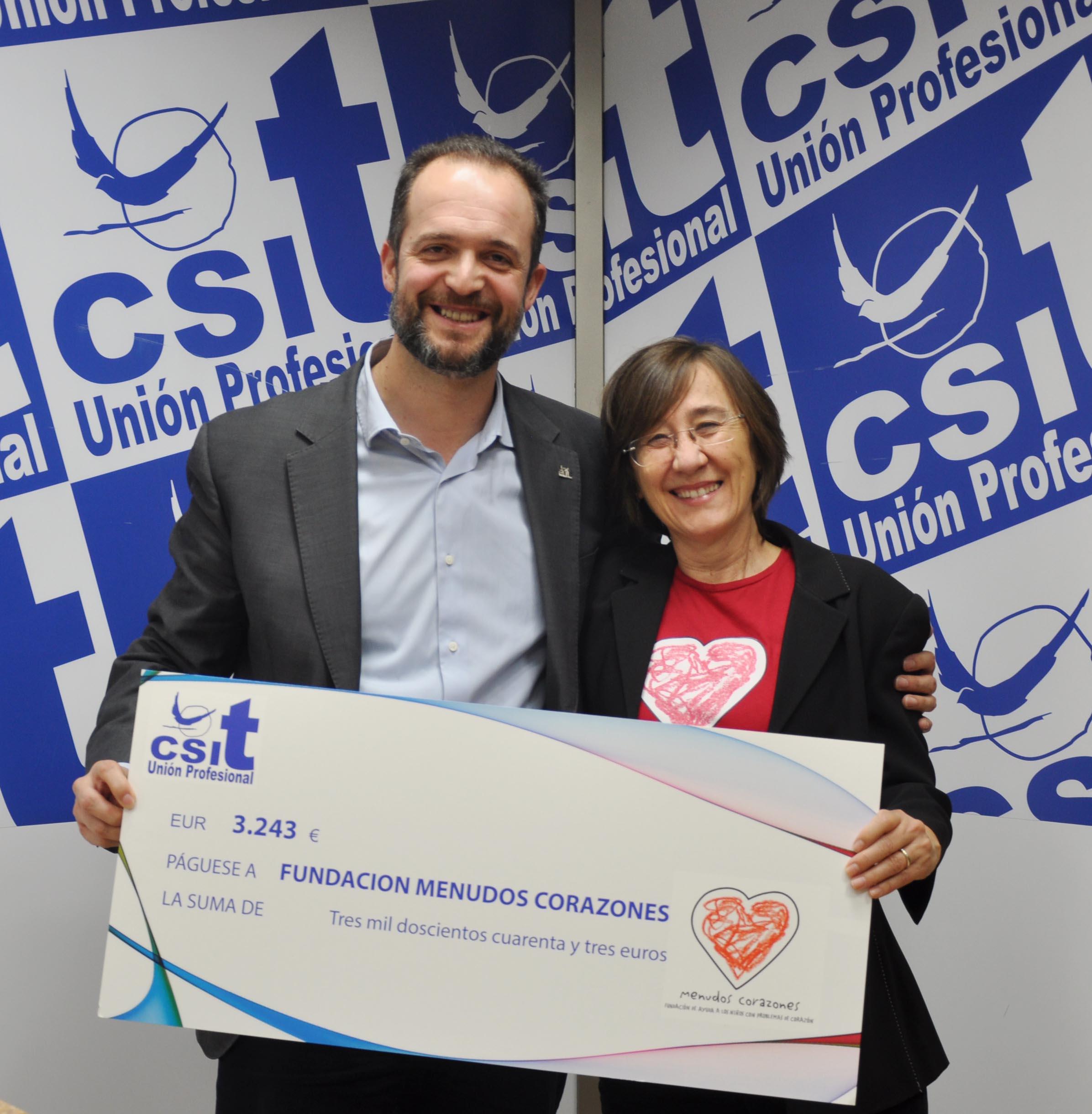CSIT UNIÓN PROFESIONAL hace entrega a la Fundación Menudos Corazones de un cheque de 3.243€.
