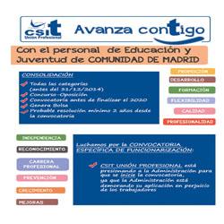 CSIT UNIÓN PROFESIONAL con el personal de Educación y Juventud de CM: Consolidación y Funcionarización