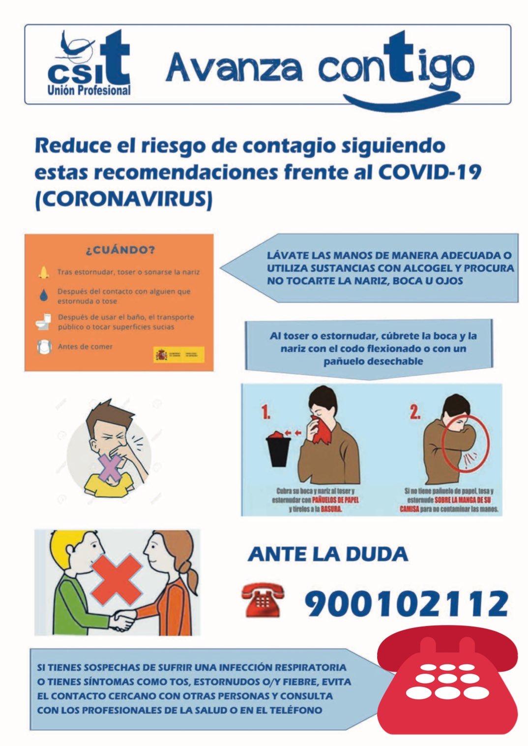 Recomendaciones para reducir contagio Coronavirus