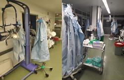 CSIT UNIÓN PROFESIONAL denuncia ante la Inspección de Trabajo al SERMAS por no proteger la salud de los profesionales frente al Coronavirus:  Almacén de la UVI donde se cuelgan los EPIS al finalizar la jornada para reutilizarse al día siguiente.