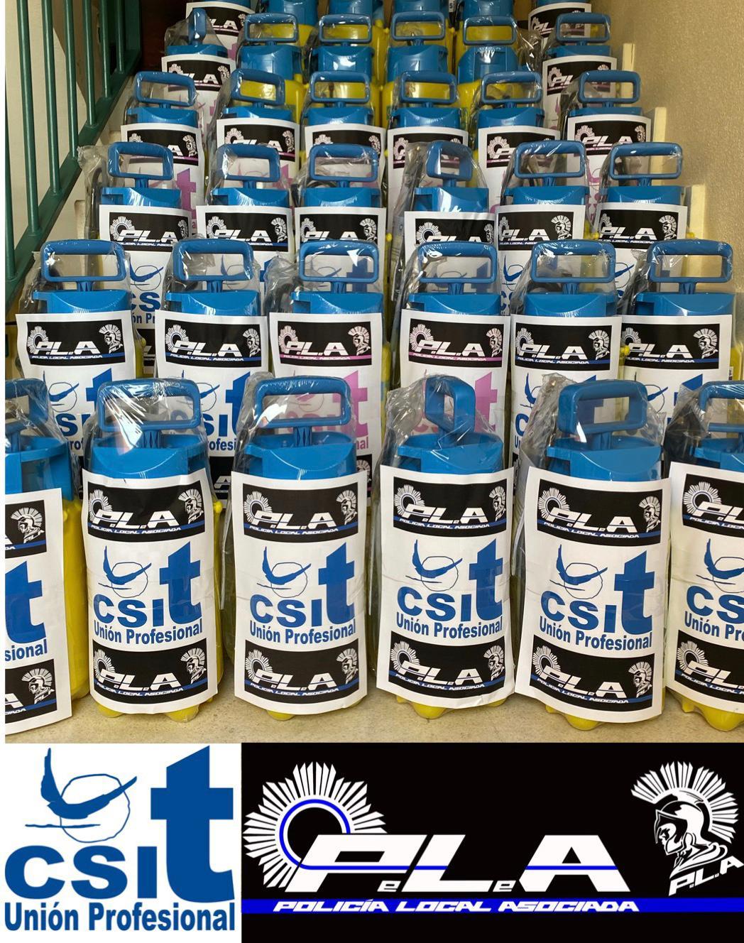 CSIT UNIÓN PROFESIONAL y el Sindicato de POLICÍA LOCAL ASOCIADA (P.L.A) han hecho entrega de 40 pulverizadores de presión.