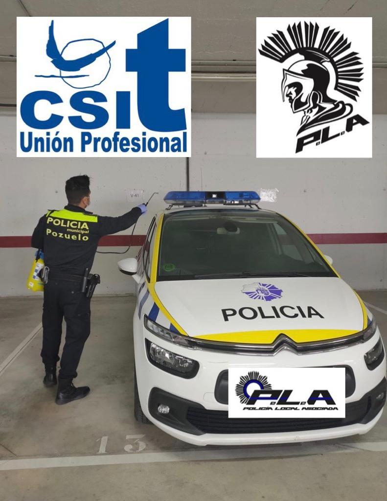 Entrega de material para la desinfección en la Unidad policial de Pozuelo