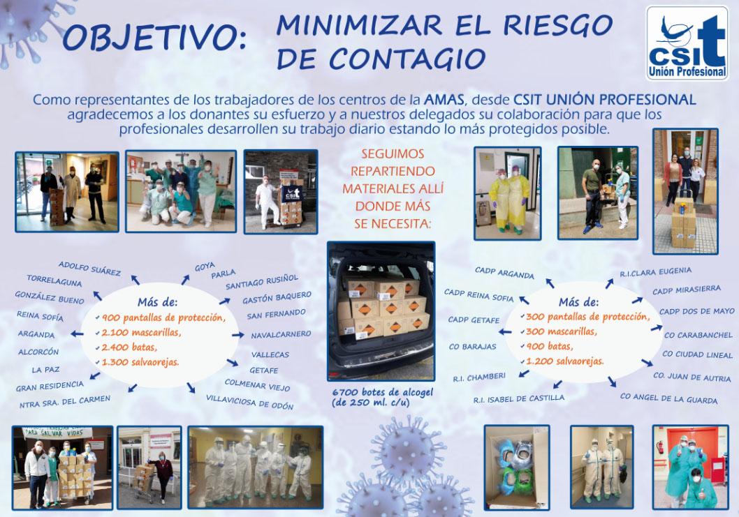 CSIT UNIÓN PROFESIONAL agradece las donaciones y colaboraciones para disminuir el riesgo de contagio