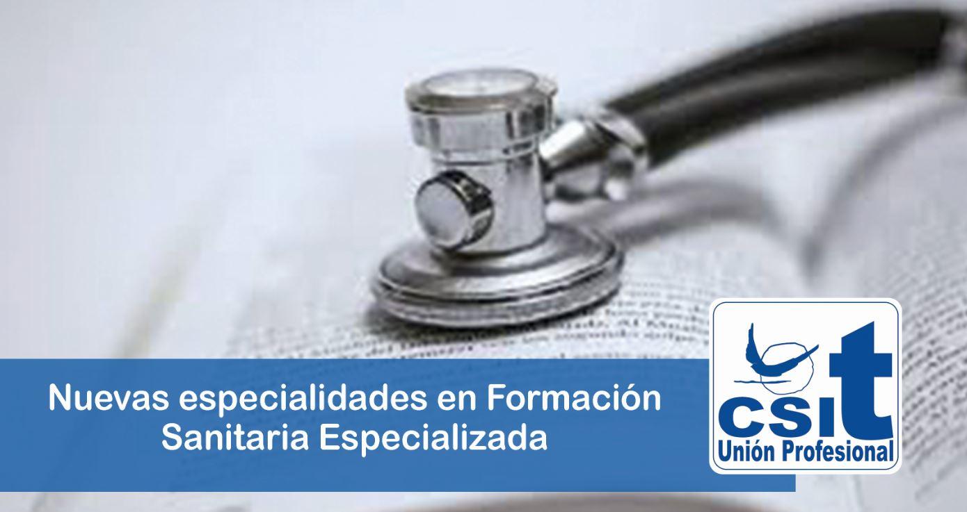 Nuevas especialidades en Formación Sanitaria Especializada