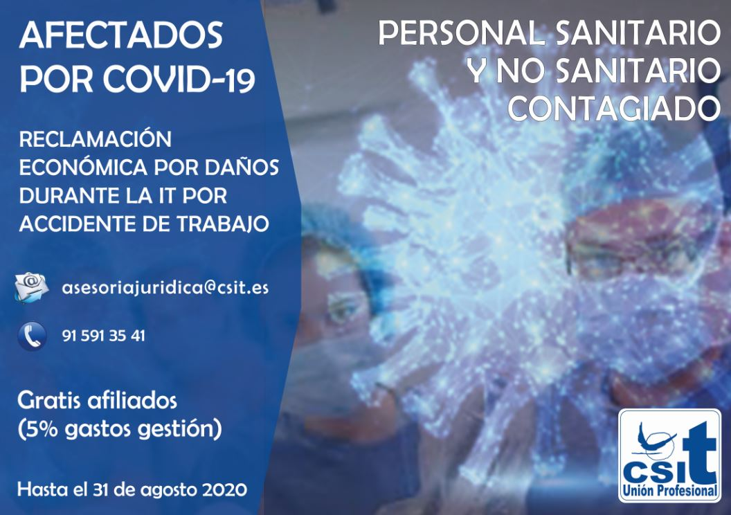 Reclamación afectados por covid-19, sanitarios y no sanitarios