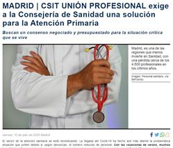 CSIT UNIÓN PROFESIONAL exige a la Consejería de Sanidad una solución para la Atención Primaria