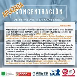 Queda aplazada la concentración del lunes en la Consejería de Sanidad