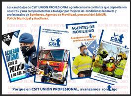 agradecimiento, apoyo, voto, ayto, madrid,  bomberos, agentes, movilidad, policia, auxiliares, samur
