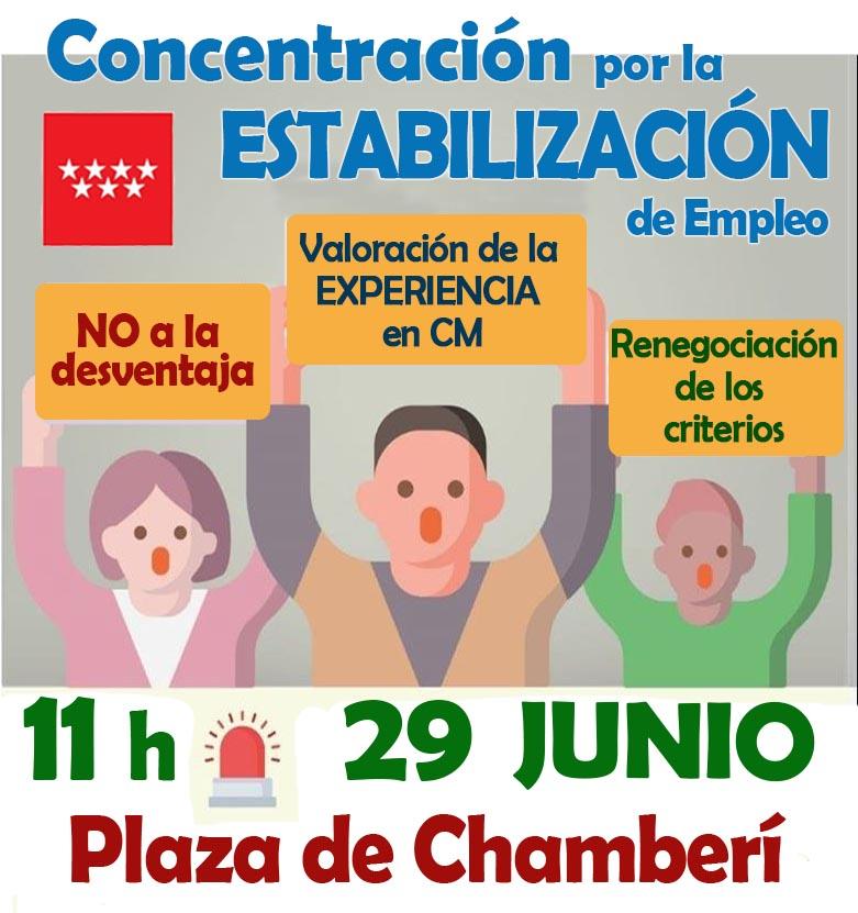 Concentración por la renegociación de criterios que valoren más la experiencia de los empleados públicos de la CM Estabilización