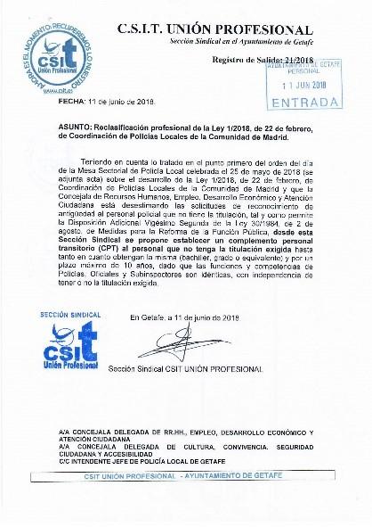 LEY COORDINACIÓN POLICÍA LOCAL GETAFE
